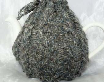 Cabled Grey and Brown Shetland Wool Teapot Cosy