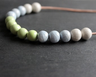 Handmade ceramic light blue, green and white short strand necklace
