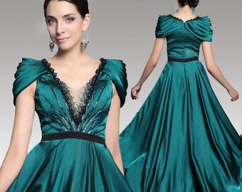 FREE SHIPPING Dark green long elegant party dress 31246