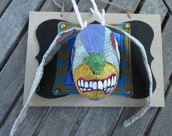 Blue Jackalope handmade art faux taxidermy mount
