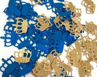 Prince Gold Crown Confetti | Royal Blue and Gold | Little Prince Party | 1st Happy Birthday Decor | Gold Glitter Crown | Royal Blue Crown