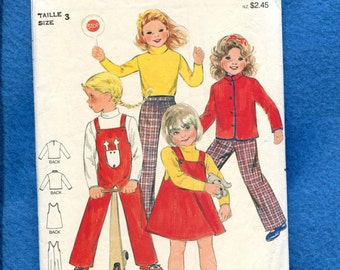 Vintage  1980's Butterick 3370 School & Play Clothes for Girls Size 3