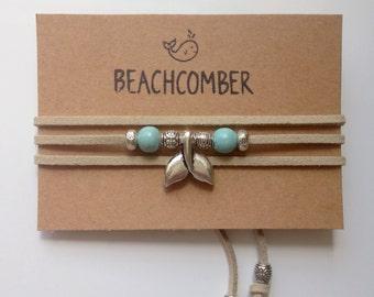 wrap bracelet, mermaid jewelry, beachcomber natural faux suede bracelet, beach bohemian bracelet