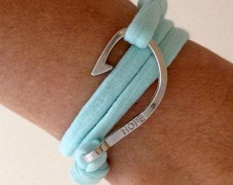 fish hook bracelet, t shirt fabric bracelet, nautical jewelry, beachcomber bracelet