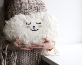 Cloud pillow - Felted wool pillow - handmade cushion - white wool pillow decorated with wool locks - made to oder
