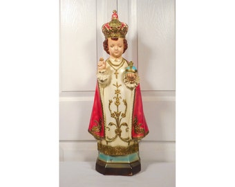 "25"" Infant of Prague Icon Plaster from Portugal Unsigned"