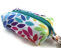 Small Boxy Key Chain Pouch || Tiny Zippered Pouch || Zippered Bag || Key Chain || Key Fob || Rainbow Floral Zippered Pouch || Gifts for Her