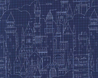Magic -  Castle Plans in Navy - Sarah Jane for Michael Miller - DC7196-NAVY-D - 1/2 Yard