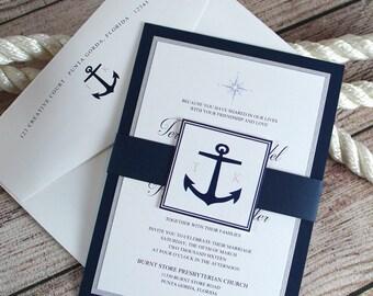 Nautical Invitations, Nautical Wedding, Navy Invitations, Wedding Invitations, Nautical Wedding Invitations, Invitations