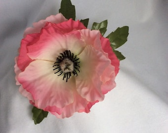 Pink with white silk Poppy flower brooch - in decorated gift box.