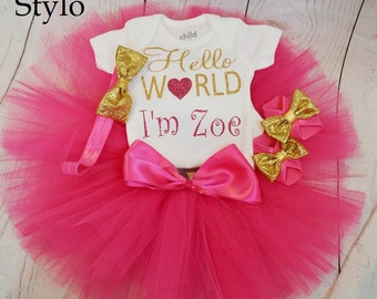 hello world baby outfit,FREE SHIPPING,  new born outfit,newborn girl outfit, colorful newborn tutu,colorful tutu,welcome baby outfit