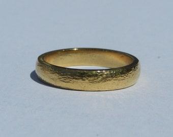 24 Karat Solid Gold Wedding Band W/ Micro Hammer Finish ~ Heavy