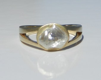 Natural Untreated 2.00 Carat Rough Diamond Engagement Ring Solid 18kt Yellow Gold ~ Gem Quality