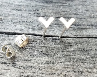Sterling Silver or Brass Post Earrings - Chevron