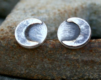 Sterling Silver Moon Shadow Post Earrings