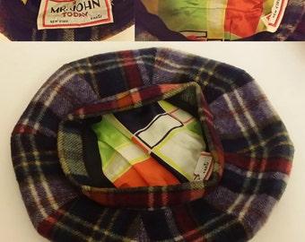 Mr. John Today wool red green white blue orange beret tam cap