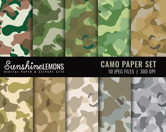 Camo Digital Scrapbooking Paper - COMMERCIAL USE Read Terms Below