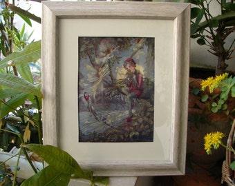 Peter Pan,original 1913 antique,Flora White rare book plate/ print from Peter Pan's ABC book