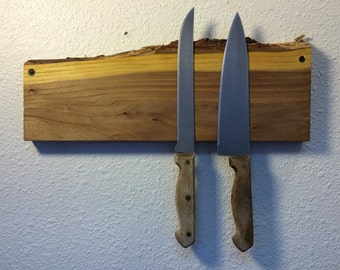 Live Edge Elm Magnetic Knife Rack. Free US Shipping.