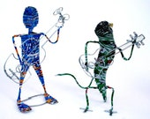 MUSICIAN FIGURES -  Hand crafted in Africa from recycled soda cans and wire . Fun items to brighten your day. GUITAR Musicians. African art.