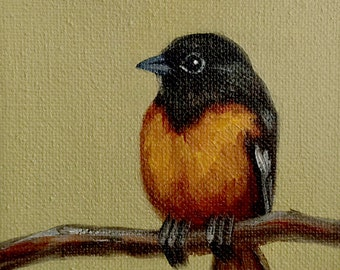 Original Oil Painting Tiny Oriole