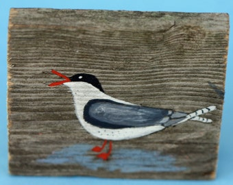 Bird painting on wood, old fence post, acrylic, small art, tern, beachy, bathroom art, rustic, found item, recycled, black and white