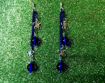 Grecian Blue Glass Bead and Silver Flowers on Electric Blue Chain Fashion Trend Earrings by JulieDeeleyJewellery on Etsy Ladies Jewelry