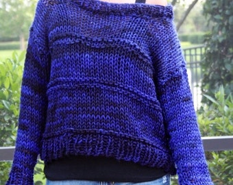 ENTIRE SHOP SALE New Hand Knit Blue Black Bulky Weekend Sweater in Handspun Hand Dyed Wool