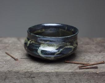 Wood fired stoneware black glazed ceramic  pottery tea bowl