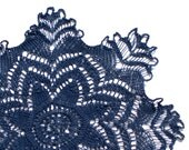Denim dark blue hand dyed knitted Vintage Doily Lace doily