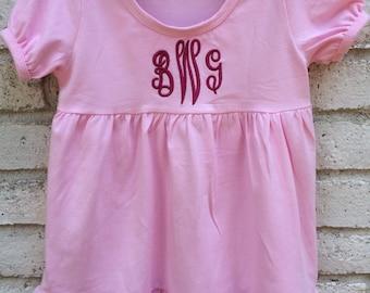 CLEARANCE!! Cotton Monogrammed Empire Waist Ruffle Tunic Dress And Double Ruffle Shorts Set