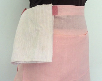 Pink Linen Half Apron with Pink Twill Ties, Waist Apron with Pockets and Towel Loop, Waitress Apron, Server Apron, Restaurant Apron, Flax