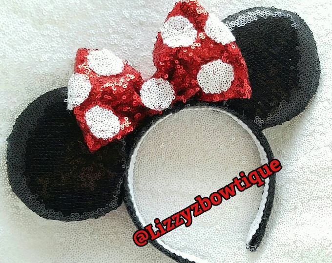 Classic Minnie Polk-a-dots ears or Pick Any Color Sequin bow