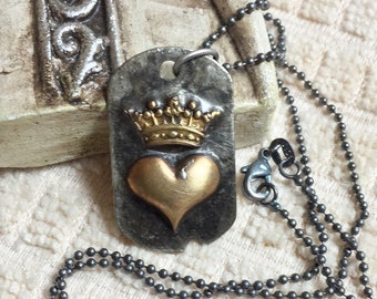 """Valentine LOVE Soldered raw brass heart and crown dogtag Pendant Necklace on 18"""" Sterling silver Ball Chain NECKLACE"""
