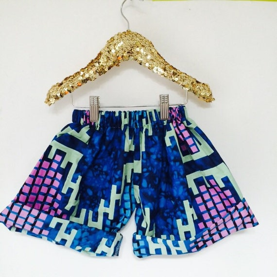 DANCE 4-5 Years Kids Childrens Shorts Pants Cullottes Cotton African Dutch Wax Pattern Unisex