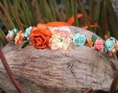 Orange, peach, and mint rose flower crown headband