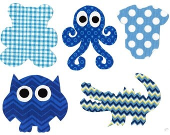 14 Iron on baby boy fabric appliques for baby shower DIY octopus, mustache, bunny, bear, owl, alligator, dinosaur, turtle, giraffe, neck tie