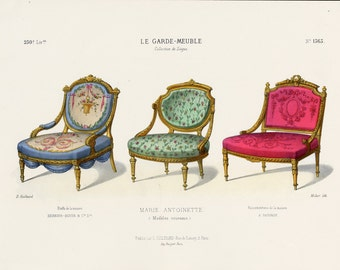 Original French Interior Design Print of Chairs by Guilmard Paris c1866. Antique Hand colored Lithograph of Marie Antoinette Seats.