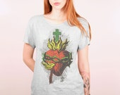 Sacred red heart of Jesus with fire, crown of thorns and a holy cross on vintage grey tshirt scoop neck, loose fit, cropped hems (laser cut)