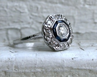 Vintage Platinum/ 14K White Gold Diamond and and Sapphire Cluster Ring Engagement Ring- 1.04ct.