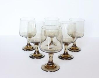 Vintage Libbey Tawny Rock Sharpe Goblet Set 6, Mid Century Modern Brandy Snifter, Retro Smoke Glass Stemware Set