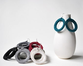 Crochet earrings ,Hoop textile earrings, minimal earrings, geometric earrings, minimal jewelry, crochet jewelry, everyday, emerald, simple