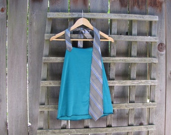 Funky Sea Green Backless Halter Top/ Eco Upcycled Tie Tank Shirt Summer Festival Tops Gear Beach Cover Up Upcycled Vintage Size S/M