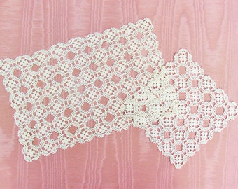 Vintage crocheted lace doily set, 1 oblong and 1 square doily, light beige lace doilies