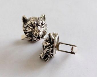 wolfs sterling silver 925 cufflinks