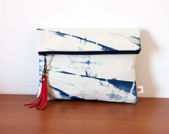 Shibori clutch with red tassel, indigo handdyed handbag, oversized boho foldover pouch with metal antique brass zipper. Ready to ship