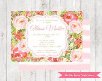 Garden Party Baby Shower Invitation | Printable Floral Baby Shower Invite |  Baby Sprinkle Digital File