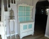 White Hutch Cabinet - Shabby Cottage Chic - Painted Vintage Hutch - Antique Hutch Cabinet - French Country Style