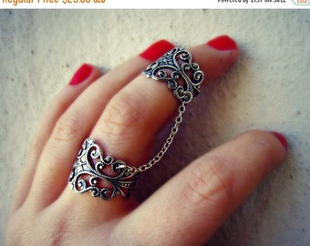 FALL SALE silver slave ring, armor ring, connected rings, ring set, filigree ring, vintage style ring
