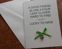 Friend Irish Greeting Card with real four leaf clover lucky charm